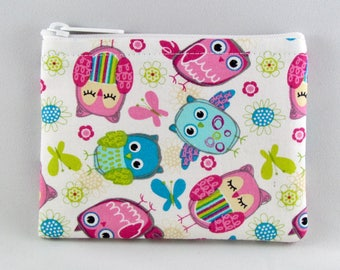 Pink and Blue Owls Coin Purse - Coin Bag - Pouch - Accessory - Gift Card Holder