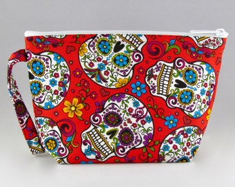 Calavera Red Makeup Bag - Sugar Skulls - Accessory - Cosmetic Bag - Pouch - Toiletry Bag - Gift