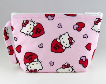 884ed017e2 Hello Kitty Conversation Hearts Makeup Bag - Accessory - Cosmetic Bag -  Pouch - Toiletry Bag - Gift
