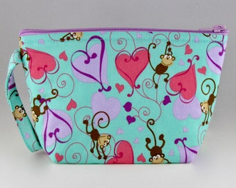 Monkeys In Love Makeup Bag - Accessory - Cosmetic Bag - Pouch - Toiletry Bag - Gift