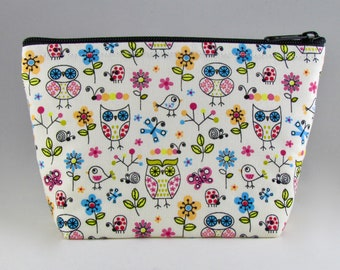 Ornate Owls Makeup Bag - Accessory - Cosmetic Bag - Pouch - Toiletry Bag - Gift