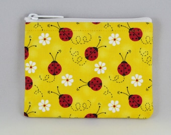 Yellow Ladybug Coin Purse - Coin Bag - Pouch - Accessory - Gift Card Holder