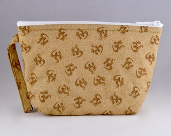 Gold OMantra Makeup Bag - Accessory - Cosmetic Bag - Pouch - Toiletry Bag - Gift