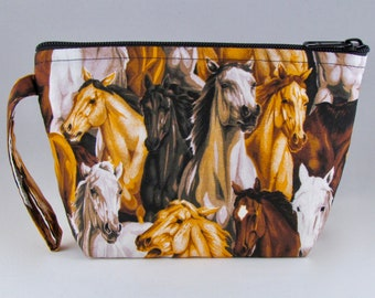 Brown Horses Makeup Bag - Accessory - Cosmetic Bag - Pouch - Toiletry Bag - Gift
