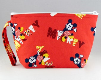 Red Mickey Makeup Bag - Accessory - Cosmetic Bag - Pouch - Toiletry Bag - Gift