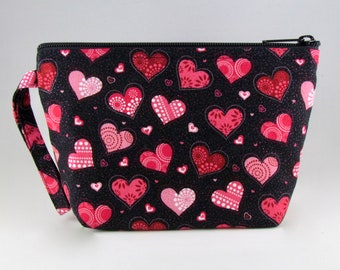 Glitter Hearts Makeup Bag - Accessory - Cosmetic Bag - Pouch - Toiletry Bag - Gift