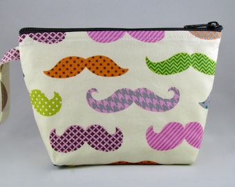 Colorful Mustaches Makeup Bag - Accessory - Cosmetic Bag - Pouch - Toiletry Bag - Gift