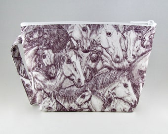 Sketched Horses Makeup Bag - Accessory - Cosmetic Bag - Pouch - Toiletry Bag - Gift