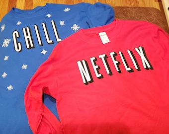 9237660de Netflix and Chill Twin day matching Shirts Long Sleeve t shirts Netflix  Chill Halloween Costume Twins Twin Day Happy Halloween