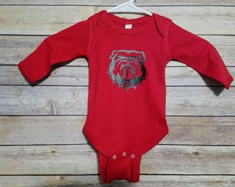 1f11ee93 Red Long Sleeve Baby Onesie GA Bulldogs GO Dawgs UGA University of Georgia  Baby Shower Gift Monogram Circle Monogram Boy or Girl Shower Gift