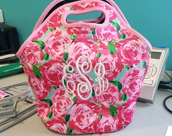 Monogram Lunch Bag  Insulated Lunch Bag  Monogram Bottle Bag  Lily Inspired  Lunch Bag Coral Back to School Teacher Gift Lunch Bag Roses dc76d400a0e76