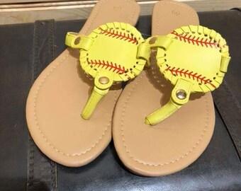 010c24dd45db37 Softball Monogrammed Sandals Softball Mom Softball Life Monogrammed Softball  Flip Flop Style Sandals