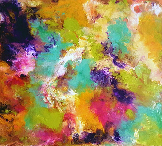 Oversize Art Print Abstract Painting Pastel Colors Extra Large Wall Art 36 X 36 Giclee Print Large Canvas Art Spring Floral Garden