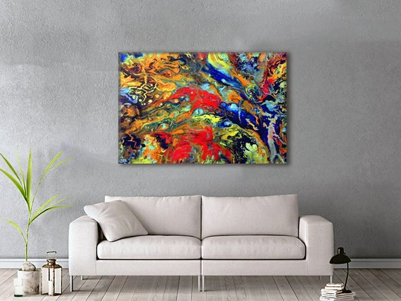 Colorful Extra Large Wall Art Oversized Abstract Metal Etsy