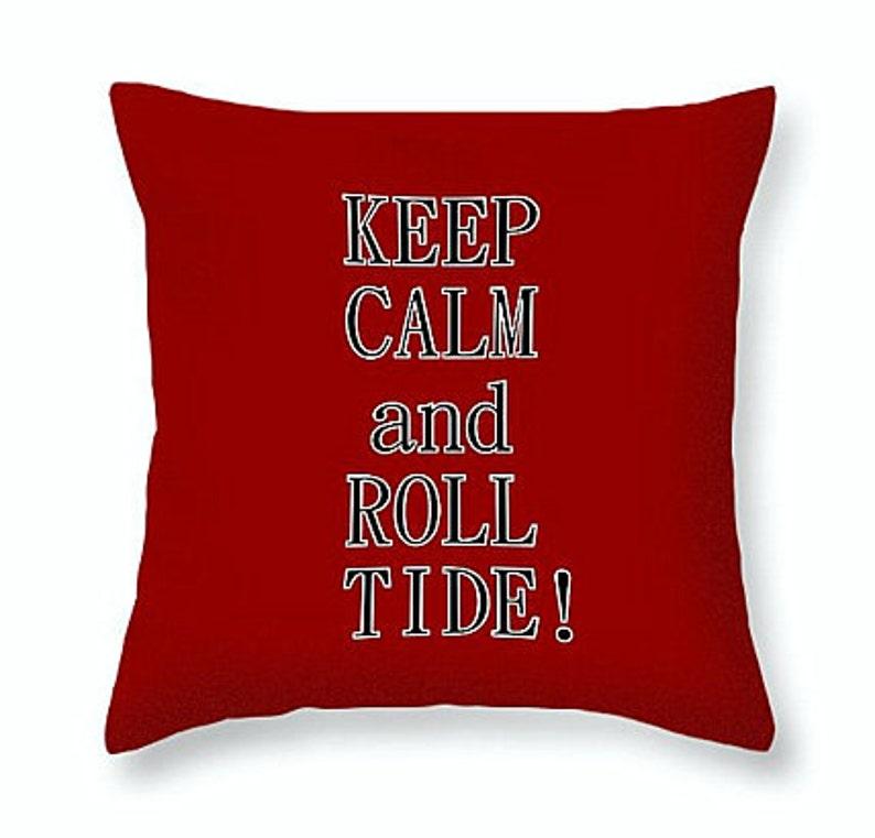Alabama Crimson Tide Gifts | Alabama Throw Pillows | Keep Calm Pillow |  College Football Gifts | Team Pillow Cover | SEC Football Fan Gifts