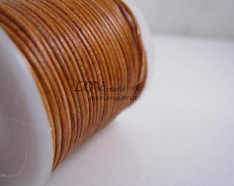 Natural Round Leather, Tan color Leather Cord, natural dye, 1mm cord