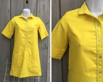 Vintage dress   1960s yellow mini dress, vintage Sears mini dress, bright yellow mod dress, vintage mod shirt dress, 60s A line shift dress