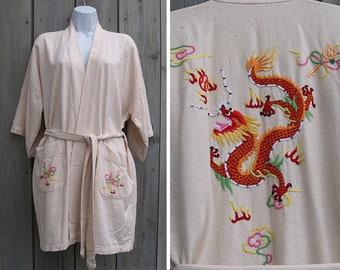 Vintage robe | Raw silk kimono with embroidered dragon