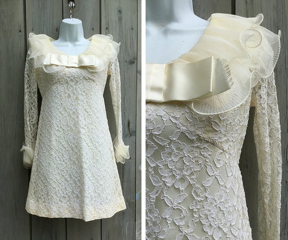 Vintage dress | 1960s lace minidress, vintage whit