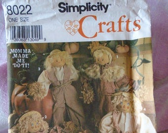 Vintage Simplicity Crafts Pattern for Scarecrow Dolls and Clothes, #8022, Vintage Autumn Craft