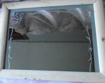 Small Vintage Chippy White Painted Wood Mirror, Shabby Chic, Boho, Etched Floral Decorative Trim