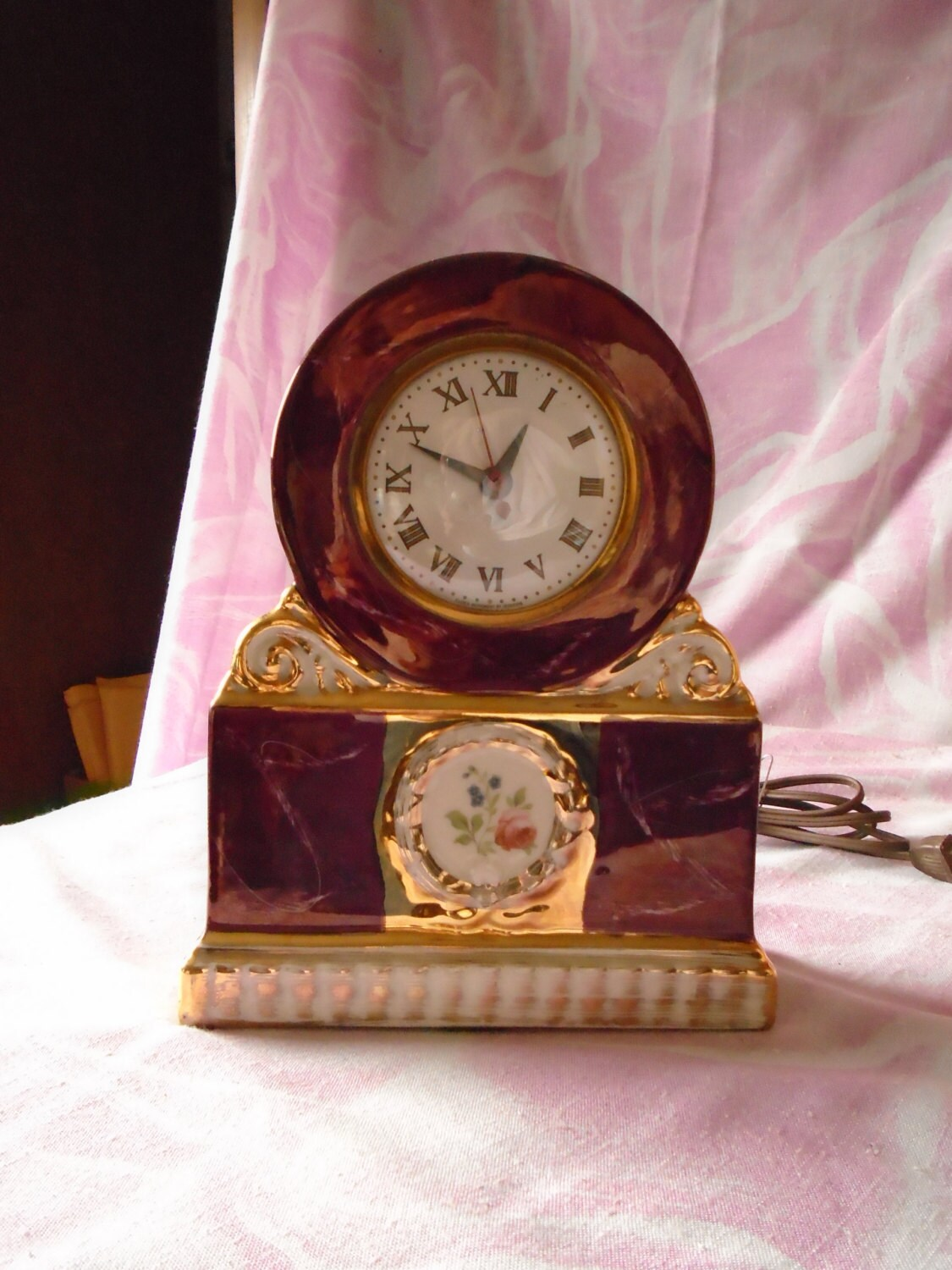 Vintage Sessions Ceramic Electric Mantle Clock C 1940