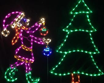 elf decorating christmas tree wireframe outdoor holiday yard decoration commercial quality