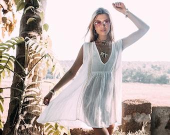 White Beach Dress for Women, White Beach Coverup, White Tunic Dress Boho, White Cotton Dress Plus, Cute White Dress, Short Summer Dress