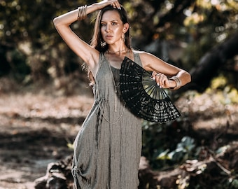 Drawstring Olive Green Hippie Boho Dress