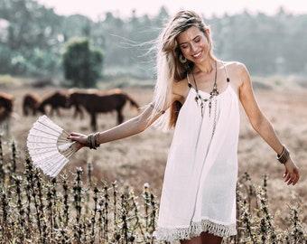 Boho Sundress, Feminine Dress, Pixie Clothing, Boho chic clothing, Cotton Summer Dress, Crepe Dress