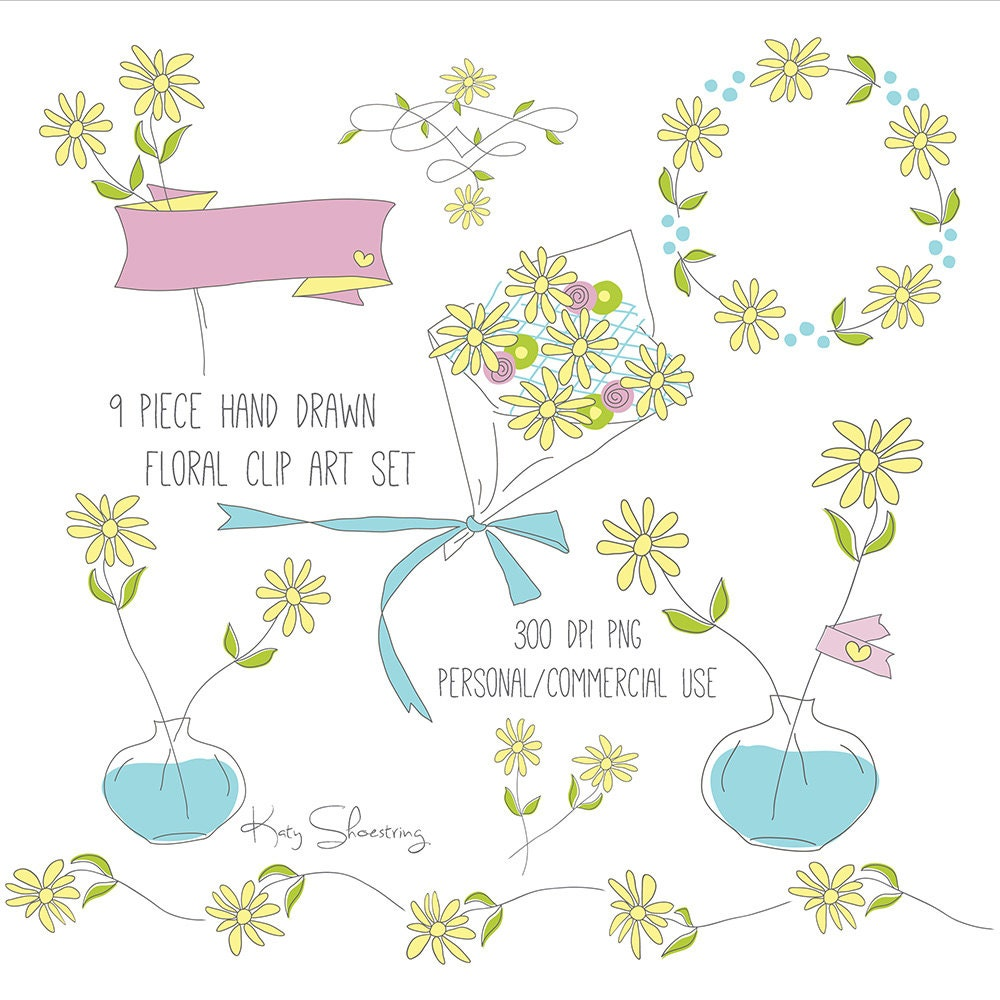 Hand Drawn Daisy Flowers Clip Art Set Spring Wreath Etsy