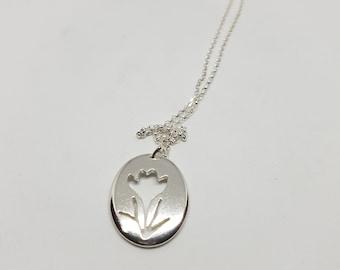 Crocus Flower Necklace, Sterling Silver Pendant, Spring Jewellery