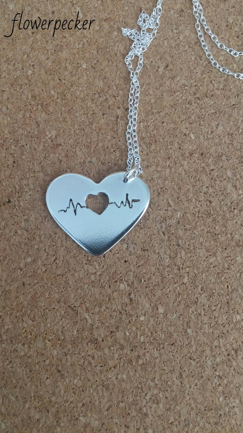 Nurse Sterling necklace Heartbeat necklace Ekg Gift for her Ecg Nurse gift Heart necklace Valentine jewelry Medical necklace