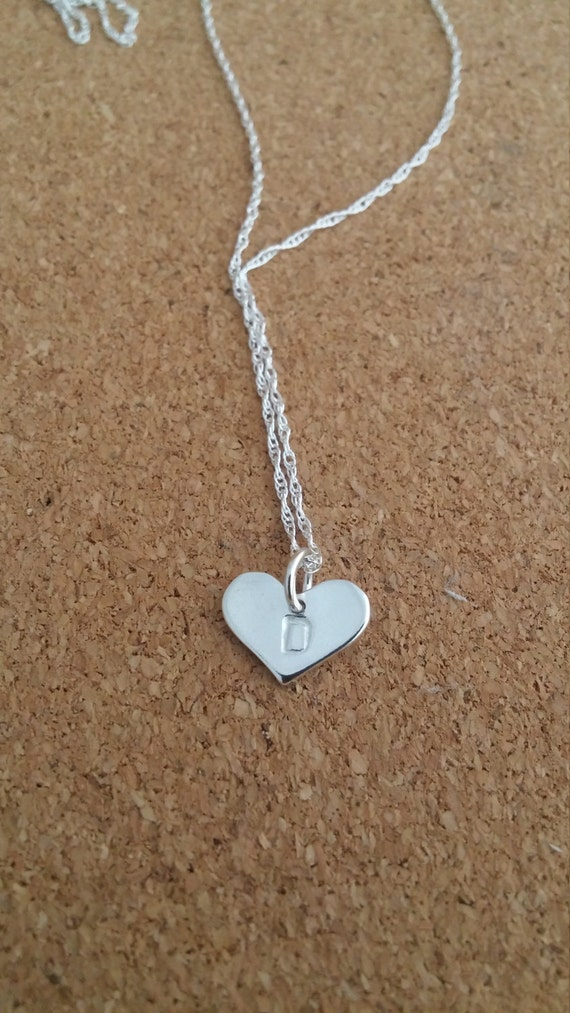 Initial and heart Simple Sterling Monogram Necklace Simple Personalized Necklace Sterling Silver Initial Necklace