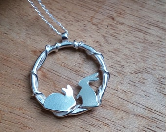Bunny Pendant, Rabbit Necklace, Sterling Silver Rabbit, Rabbit Jewelry, Gift For Her, Mother Daughter Jewelry