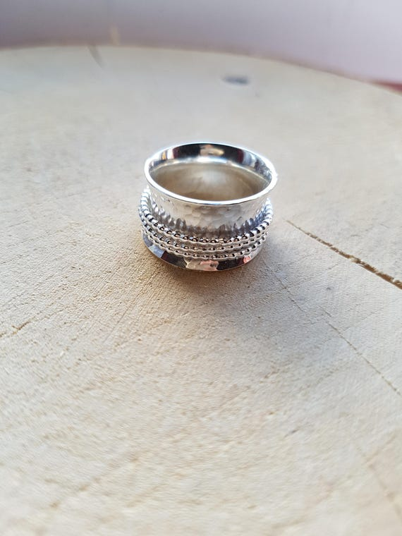 Sterling Silver Worry Ring with Irish Symbols Spinning Band