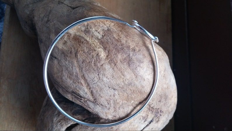 Bangle Hook Bangle Stackable charm bracelet Gift for girlfriend Infinity Bangle Silver bangle Silver Circle  bangle Silver bracelet