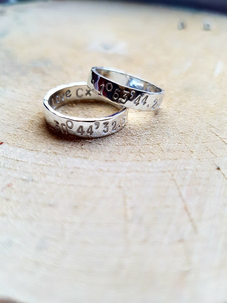 Couple Ring Sterling Silver Ring Coordinates Couple Ring Matching Coordinates