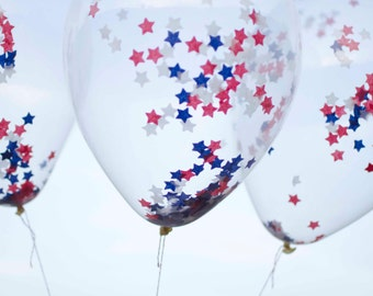 USA colors 11 inches Latex Balloon - Clear with SMALL star Confetti Party Supplies 4th of July balloon