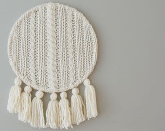 "DIY Knitting PATTERN - Cable Knit and Tassels Wall Hanging  Size: 12"" diameter (2015017)"