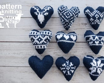 "DIY Knitting PATTERN - Knit Fair Isle Hearts  Size: 4"" approx. (2017010)"