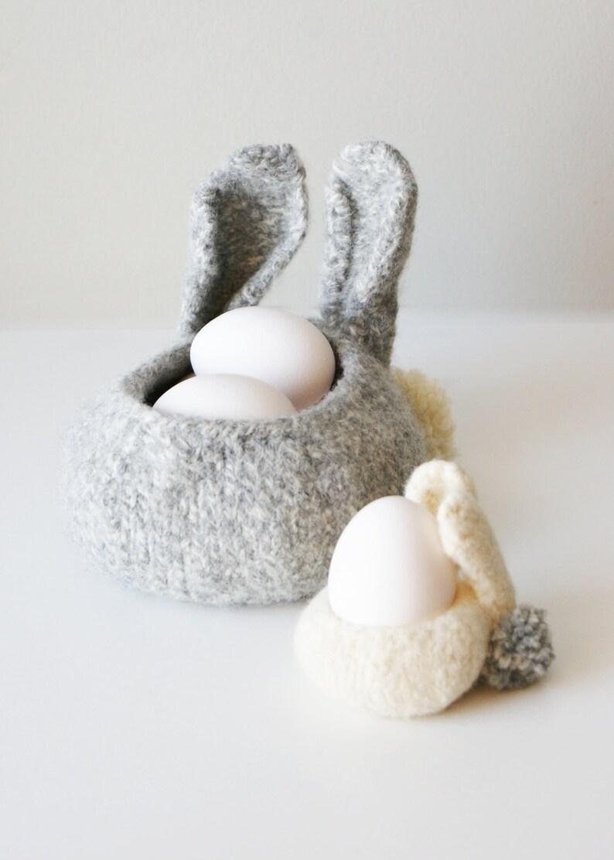 DIY Knitting PATTERN Knit Wool Felt Bunny Bowls in 3   Etsy
