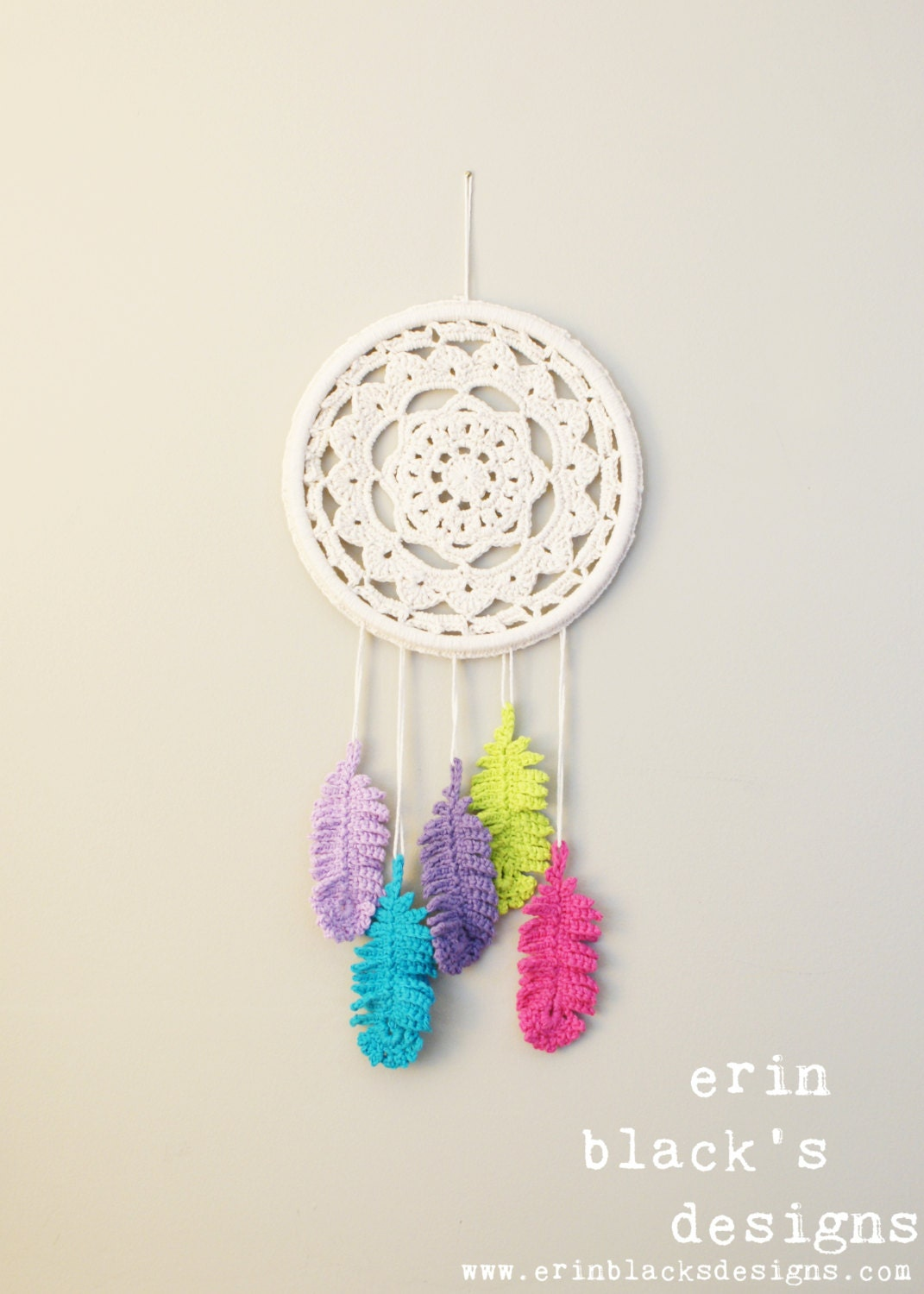 Diy Crochet Pattern Dreaming Of Feathers Wall Hanging Etsy