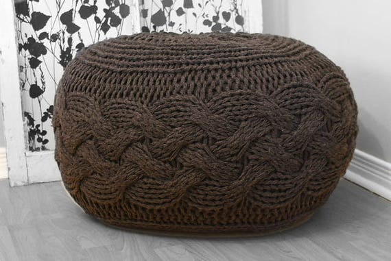 DIY Knitting PATTERN Chunky Cable Knit Pouf 40 Etsy Cool Knitting A Pouf