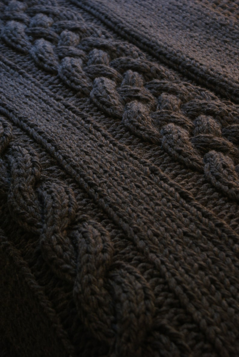 Diy Knitting Pattern Double Cable Throw Blanket 2012002 Etsy