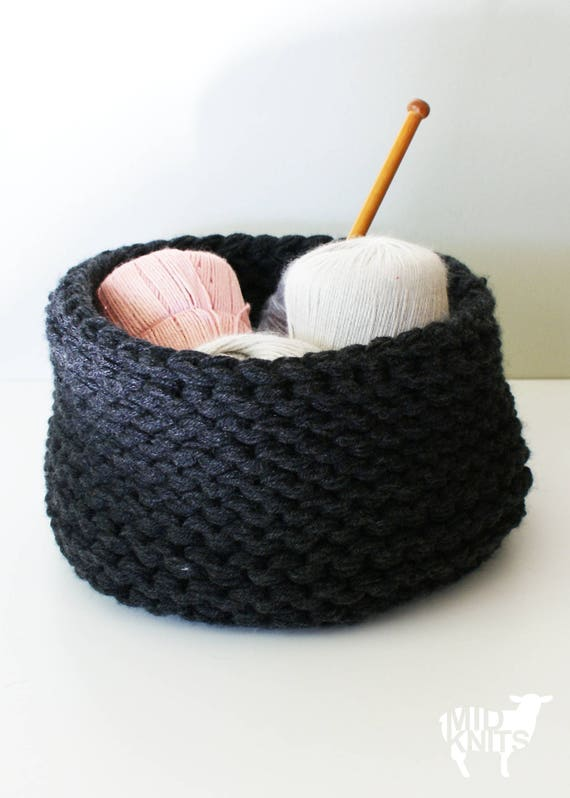 Diy Knitting Pattern Chunky Knit Baskets 2014025 Chunky Etsy