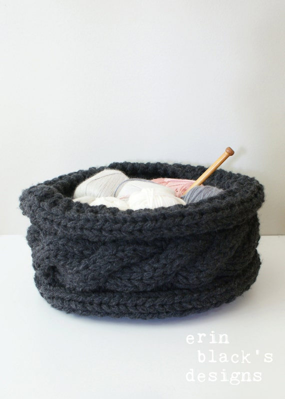 Diy Knitting Pattern Twisted Cable Chunky Knit Basket Etsy