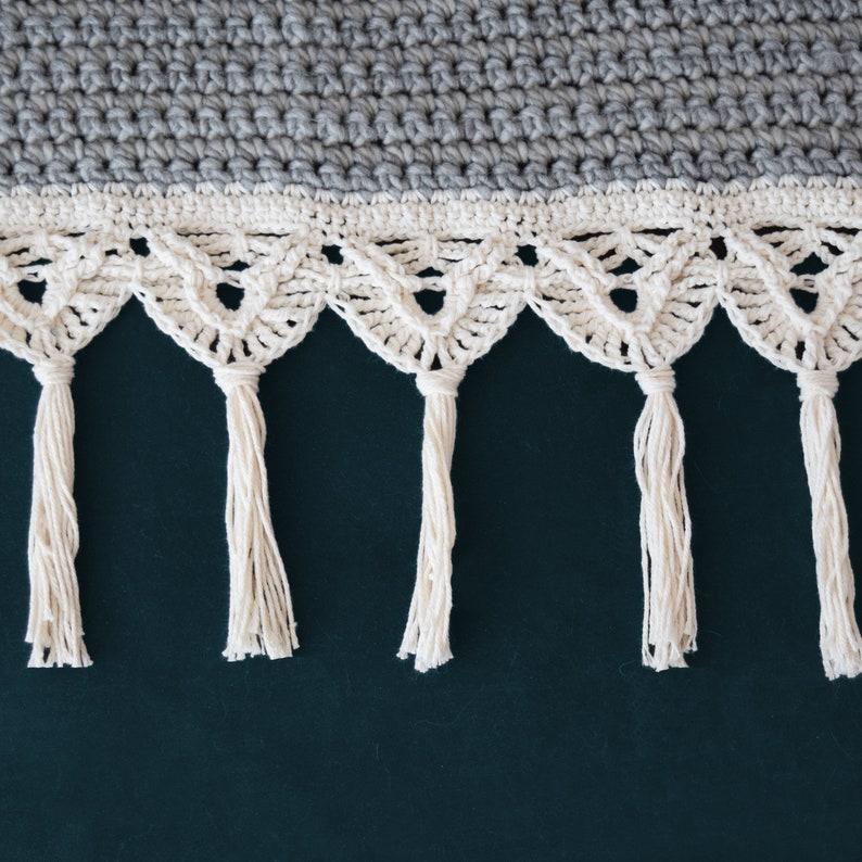 DIY Crochet PATTERN macrame trim 2019001 :  crochet pattern crochet blanket macrame pattern afghan Crochet Macrame Edged Blanket