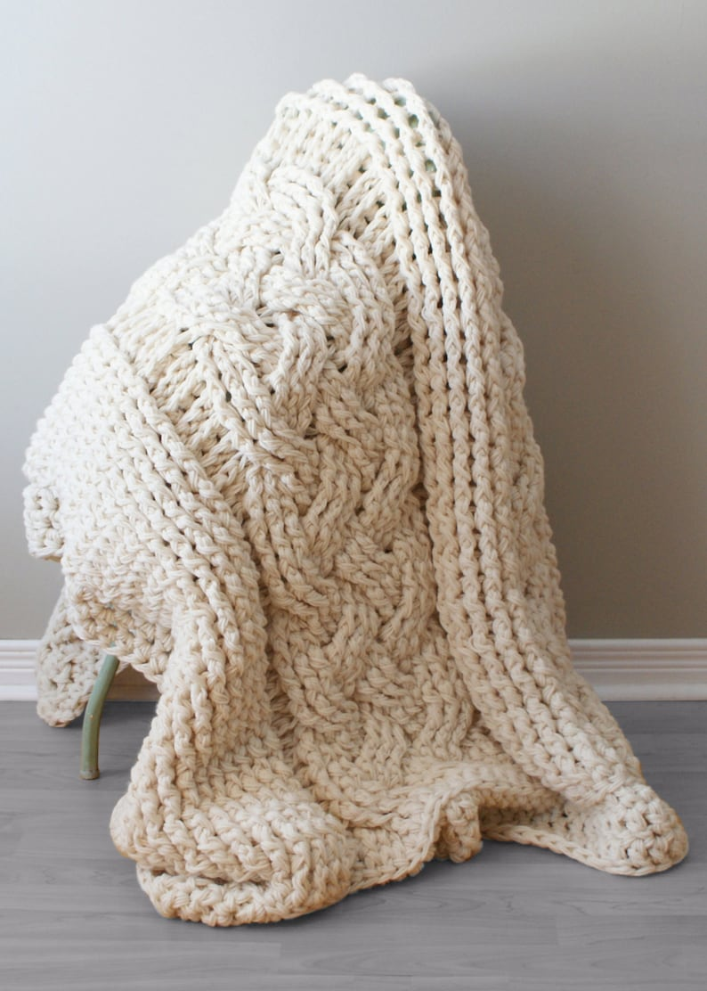Diy Crochet Pattern Double Cable Crochet Throw Blanket Etsy