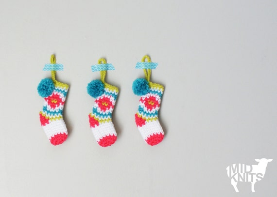 Diy Crochet Pattern Fair Isle Christmas Mini Stocking Etsy